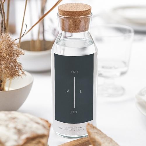 Étiquette bouteille mariage vin Bleu Minéral gratuit