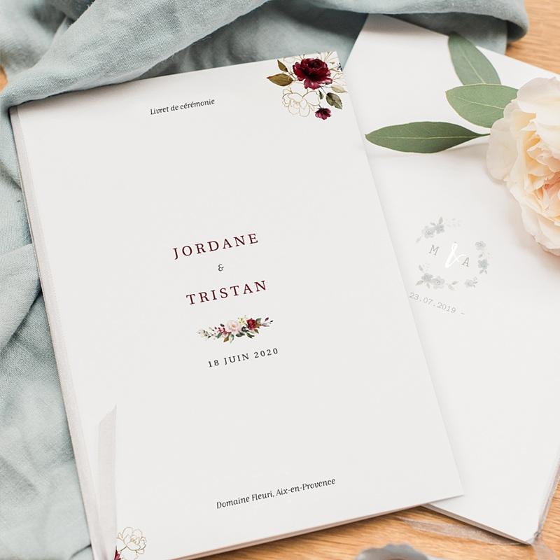 Livret Messe Mariage Fleurs Marsala pas cher