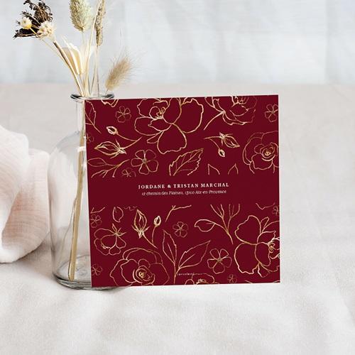 Carte remerciement mariage Fleurs Marsala pas cher