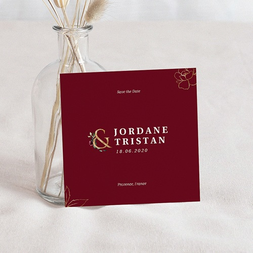Save The Date Mariage Fleurs Marsala