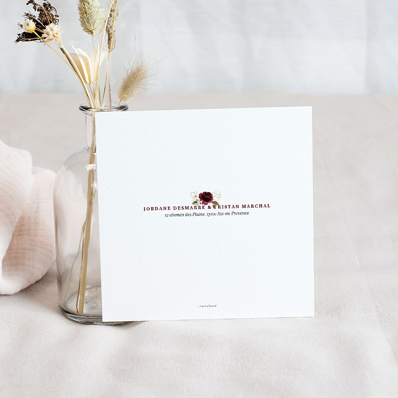 Save The Date Mariage Fleurs Marsala pas cher
