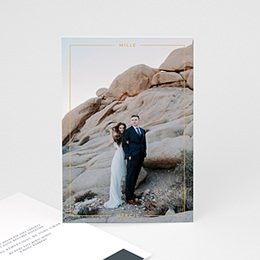 Carte remerciement mariage chic Bleu Minéral