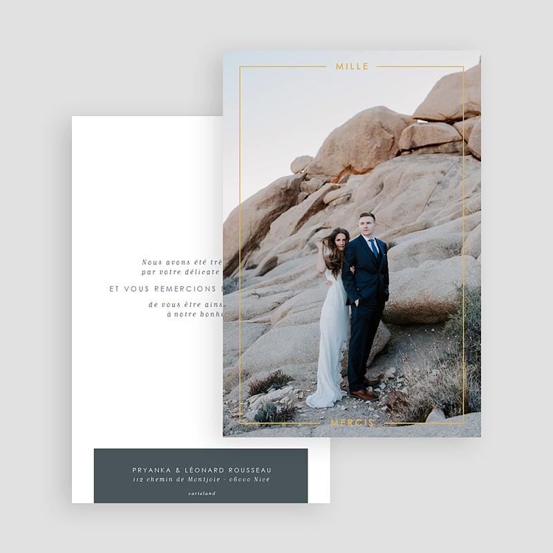 Carte remerciement mariage chic Bleu Minéral gratuit