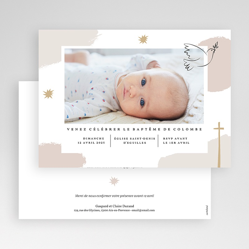 Faire-Part Baptême Fille Artsy gratuit