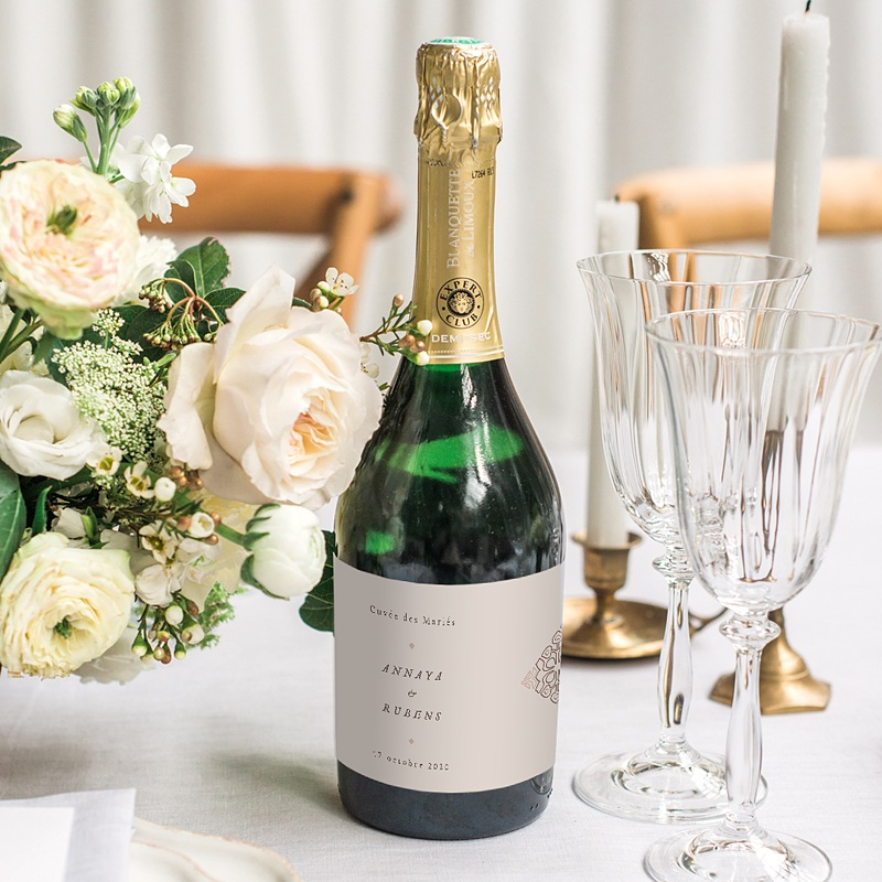 Etiquette Bouteille Mariage Style Mauresque gratuit