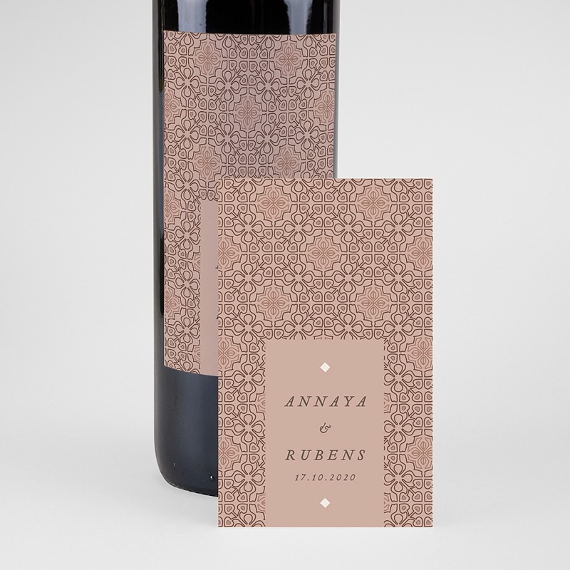Étiquette bouteille mariage vin Style Mauresque pas cher
