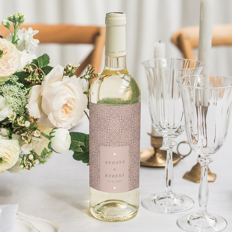 Étiquette bouteille mariage vin Style Mauresque