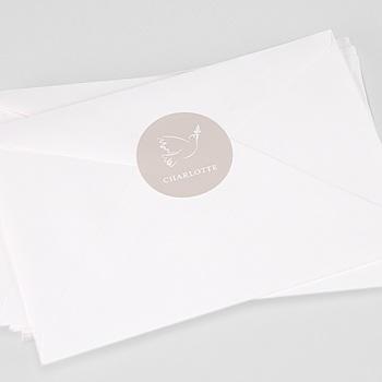 Etiquette autocollante baptême colombe douceur sur mesure