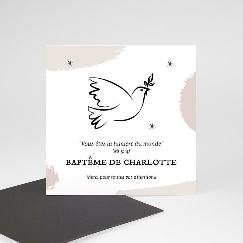 Carte Remerciement Baptême Fille Colombe Douceur