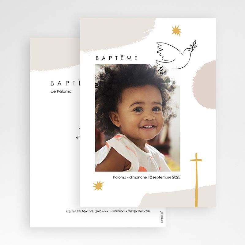 Faire-part baptême religieux Façon Picasso gratuit