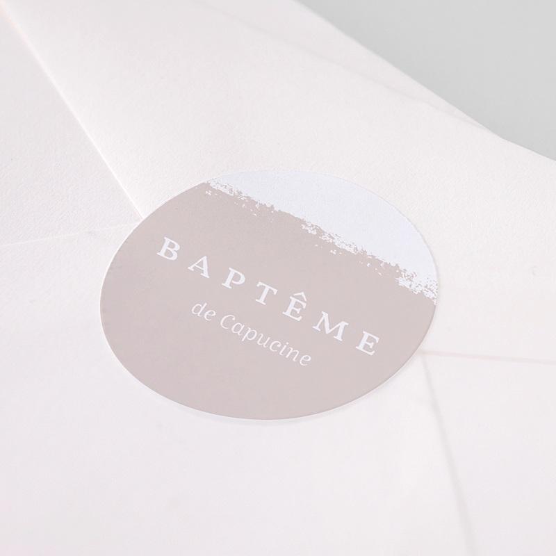 Etiquette autocollante baptême Bicolore Brush pas cher