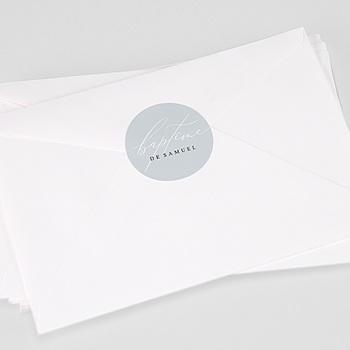 Étiquette autocollante baptême - Epure Bleue - 0