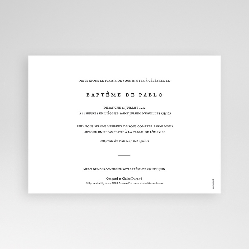 Faire-part Baptême Garçon - Artsy-Craftsy 74021 thumb