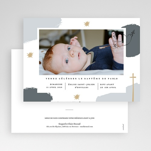Faire-part Baptême Garçon - Artsy-Craftsy 74022 thumb