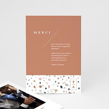 Carte remerciement mariage créatif Terrazzo Or