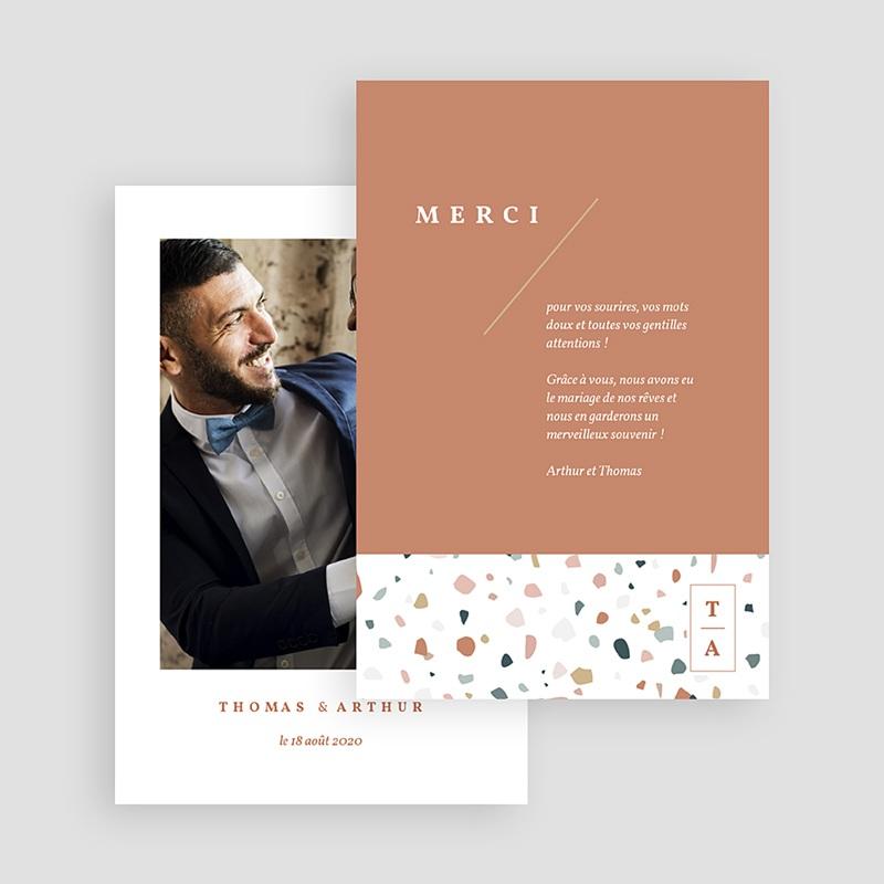 Carte Remerciement Mariage Créatif Terrazzo Or gratuit