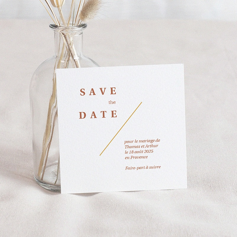 Save The Date Mariage Terrazzo Or