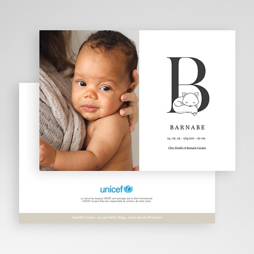Faire-Part Naissance Renard Avec initiale du prénom de bébé gratuit