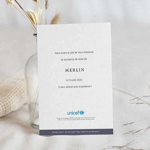 Faire-Part Naissance Garçon UNICEF Initiale Anthracite pas cher