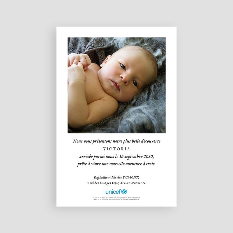 Faire-Part Naissance Fille UNICEF Jolie Montgolfière pas cher