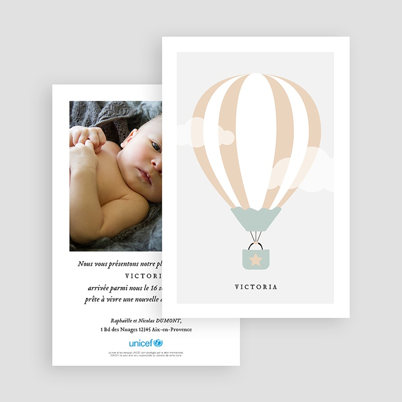 Faire-Part Naissance Fille UNICEF Jolie Montgolfière gratuit