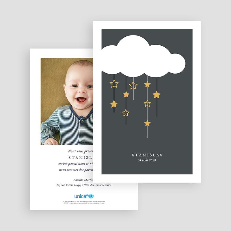 Faire-Part Naissance Garçon UNICEF Pluie d'étoiles gratuit