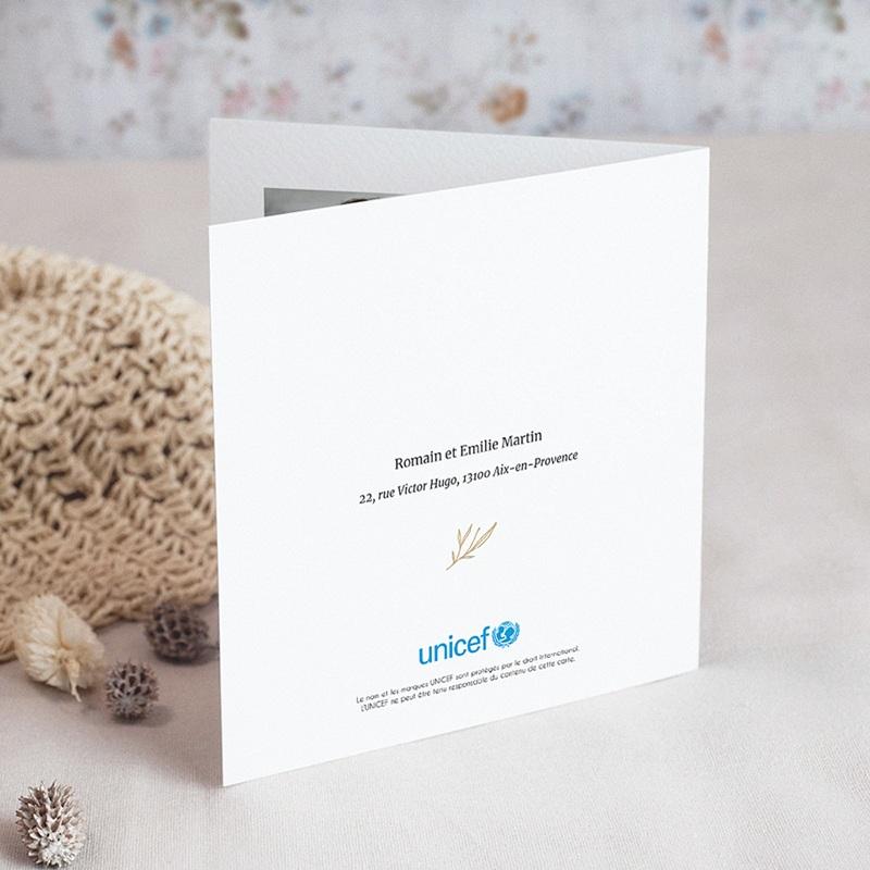 Faire-Part Naissance Fille UNICEF Lettre Fleurie gratuit