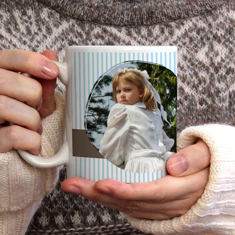 Mug Personnalisé Photo Tasse - Bleu rayé gratuit