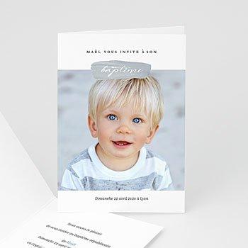 Faire-part baptême garçon Pinceau Bleu