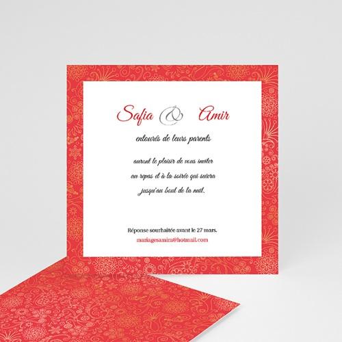 Carton Invitation Personnalisé Moyen-oriental Rouge