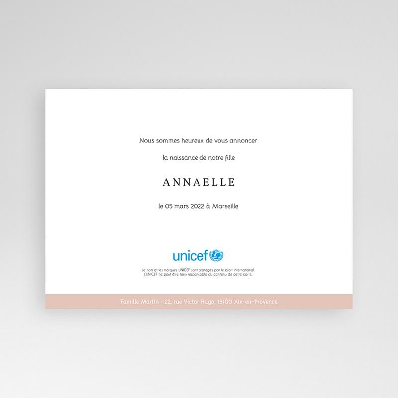 Faire-Part Naissance Fille UNICEF UNICEF Avec initiale du prénom pas cher
