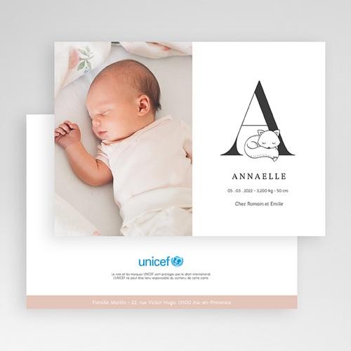 Faire-Part Naissance Fille UNICEF UNICEF Avec initiale du prénom gratuit