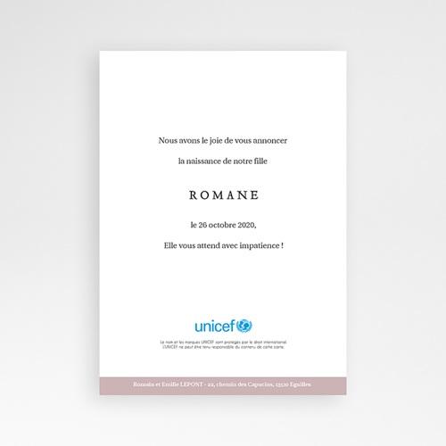 Faire-Part Naissance Fille UNICEF Initiale Poudrée pas cher