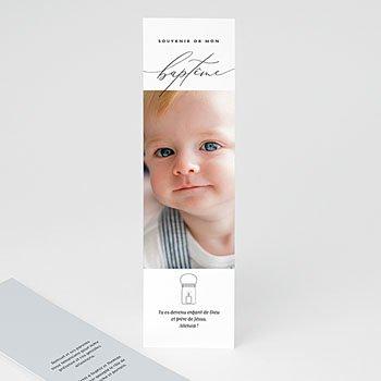 Acheter carte remerciement baptême garçon epure bleue