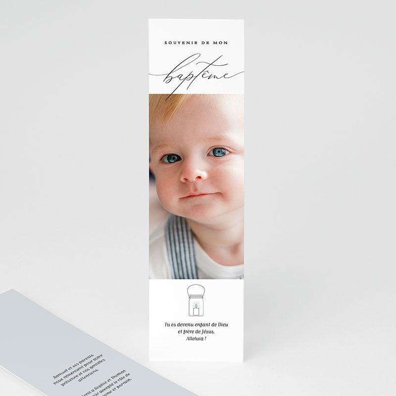 Carte Remerciement Baptême Garçon Epure Bleue