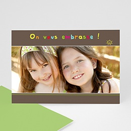 Carte personnalisée 1 photo Smiles - bandeau marron
