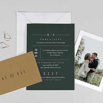 Faire-part mariage Vert & Kraft