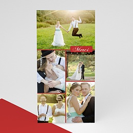 Cartes Multi-photos 3 & + Cinq - Rouge