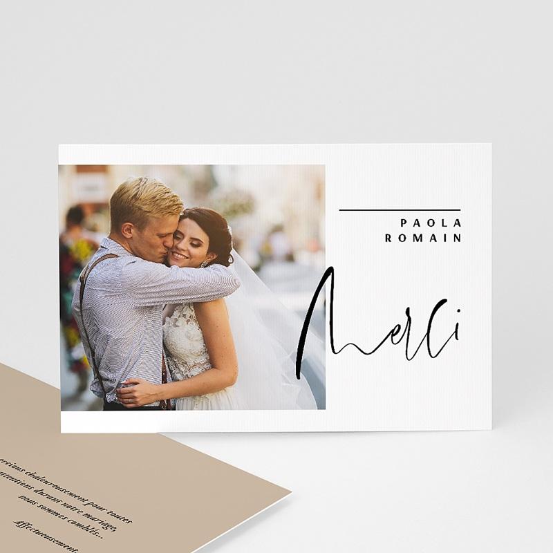 Carte remerciement mariage kraft Typo Manuscrite