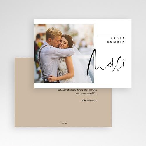 Carte remerciement mariage kraft Typo Manuscrite pas cher