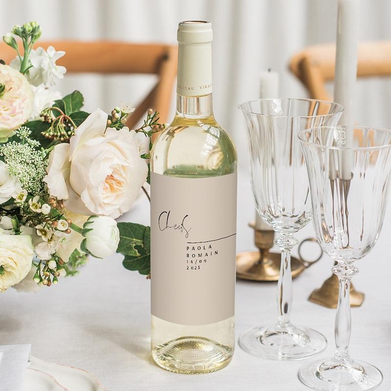 Étiquette bouteille mariage vin Typo Manuscrite