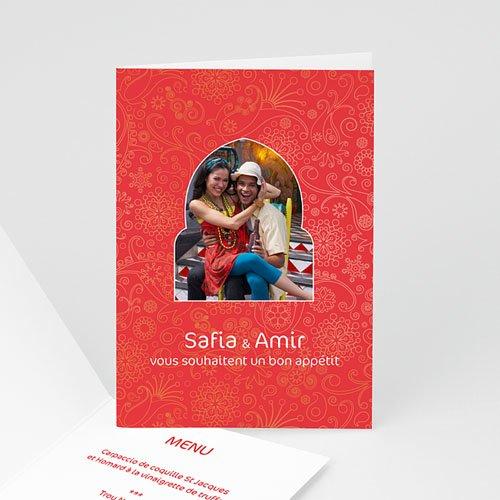 Menu Mariage Personnalisé Oriental Rouge