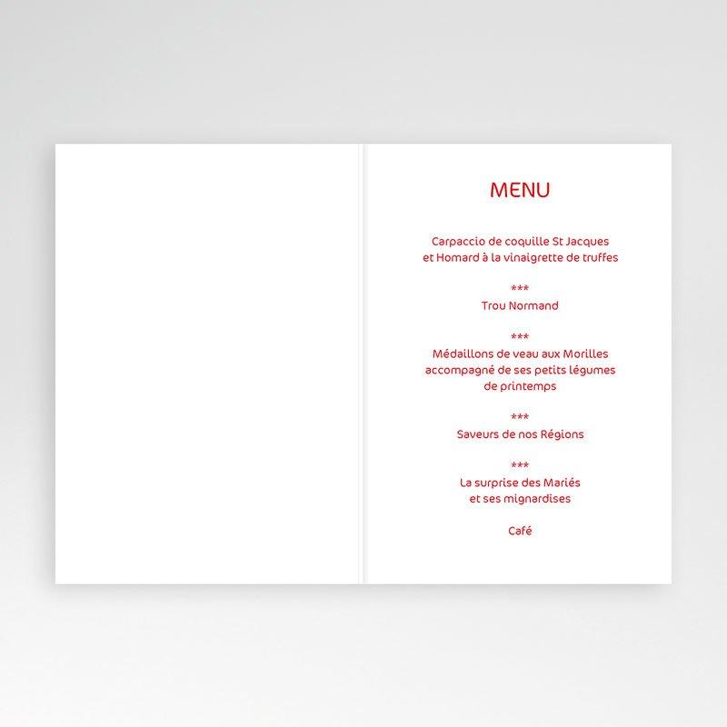 menu mariage personnalis oriental rouge. Black Bedroom Furniture Sets. Home Design Ideas