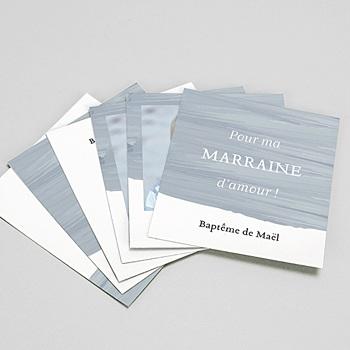 Carte remerciement baptême originale pinceau bleu personnalisable