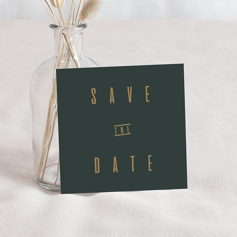 Save The Date Mariage Vert & Kraft, Photo, 10 x 10
