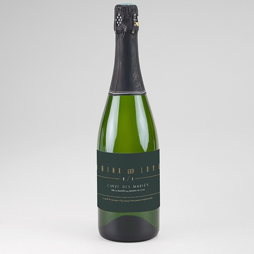 Etiquette Bouteille Champagne Vert & Kraft