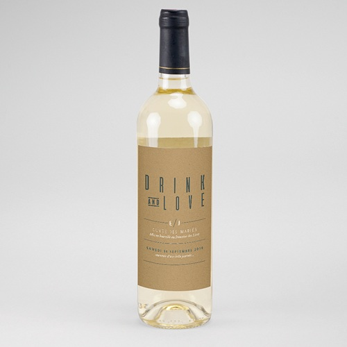 Étiquette bouteille mariage vin Vert & Kraft