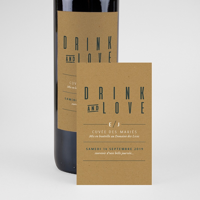Étiquette bouteille mariage vin Vert & Kraft pas cher