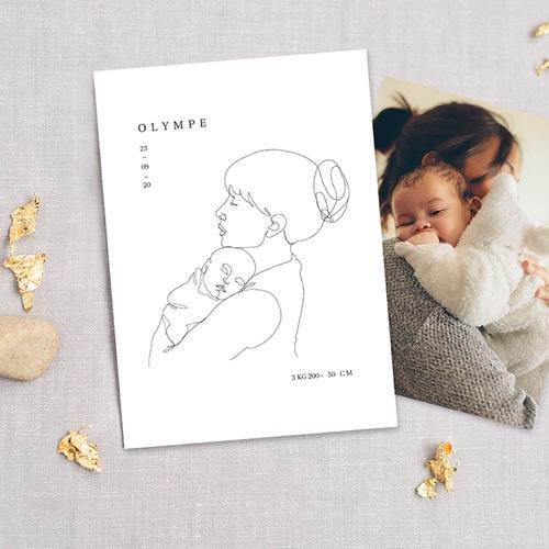 Faire-Part Naissance Fille La mère et l'enfant