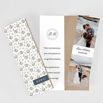 Carte remerciement mariage champêtre Millefiori